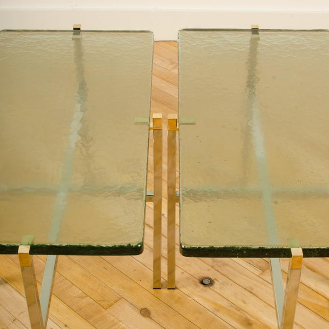 Italian Mid-Century Smoky Glass Top End Tables - a Pair For Sale - Image 4 of 13