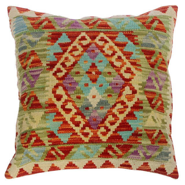 "Chloe Ivory/Rust Hand-Woven Kilim Throw Pillow(18""x18"") For Sale"