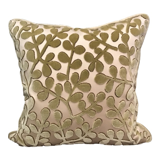 Transitional Beacon Hill Summer Sonata Peridot Silk Velvet Epingle Pillow For Sale