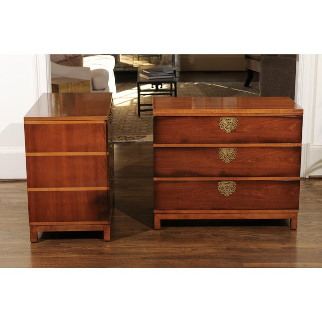 Mid-Century Modern Chic Restored Pair of Michael Taylor Style Chests, Circa 1957 For Sale - Image 3 of 13