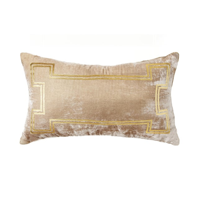 A taupe silk/viscose velvet lumbar pillow with gold foiling accents. This pillow is brand new and comes complete with the...
