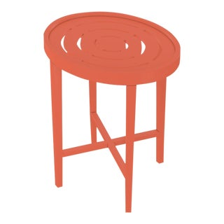 Oomph On the Rocks Oval Outdoor Side Table, Orange For Sale