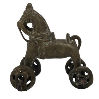 Antique Indian Brass Horse Temple Toy For Sale