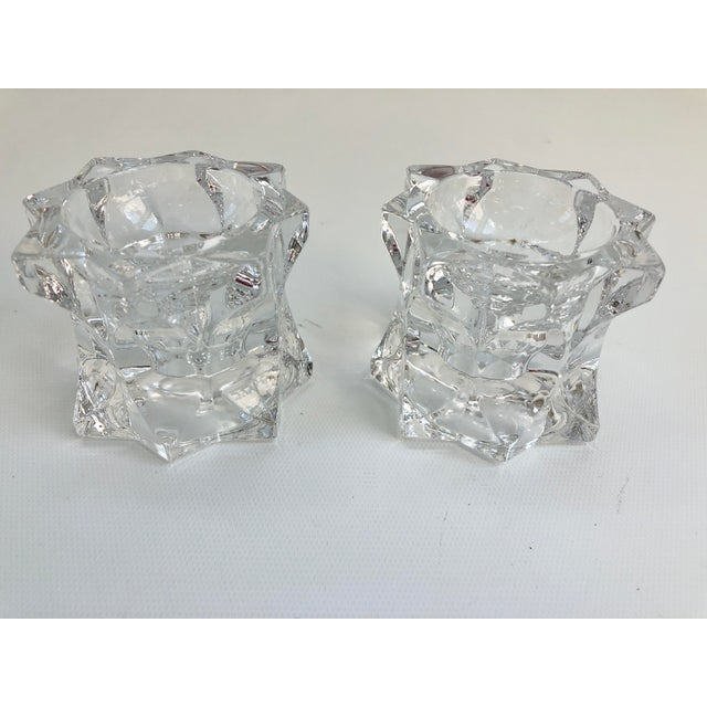 Vintage Faceted Crystal Candle Holders - a Pair For Sale - Image 4 of 6