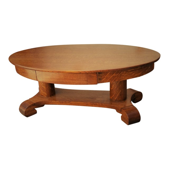 141a9627a69a Antique American Tiger Oak Coffee Table For Sale