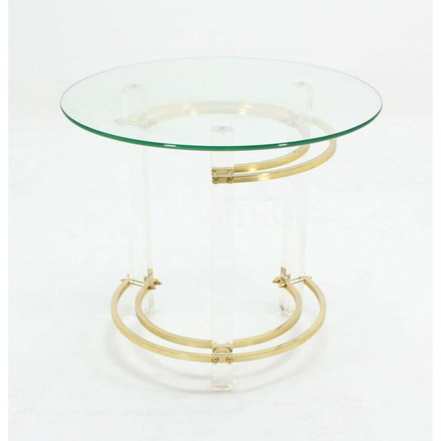 Brass Charles Hollis Jones Round Lucite and Brass Side Table For Sale - Image 7 of 8