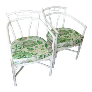 Rattan Arm Chairs with Gray & Green Upholstery Cushions - a Pair For Sale
