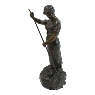 Henryk Kossowski Woman With Rake Bronze Sculpture