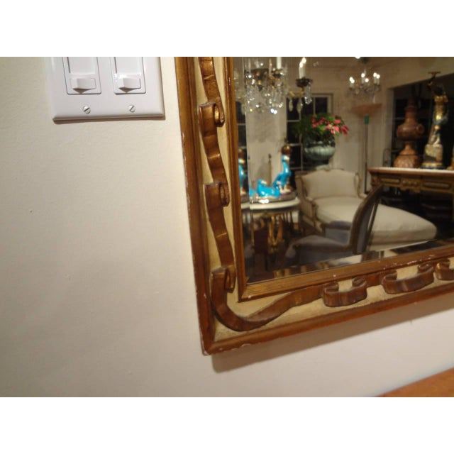 Italian Rectangular Painted and Gilt Wood Beveled Mirror For Sale - Image 4 of 9