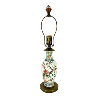 Chinese Republic Period Famille Rose Antique Porcelain Brass Mounted Table Lamp For Sale