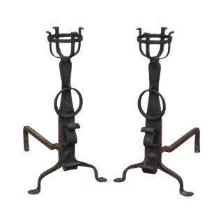 Antique Arts & Crafts Pair of Wrought Iron Cup Dog Andirons - a Pair For Sale