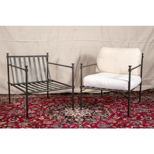 Pair of Welded Construction Modern Armchairs For Sale In New York - Image 6 of 8