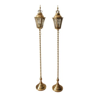 1900s English Cast Brass Spiral Column Floor Lamps For Sale