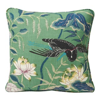 Schumacher Double-Sided Pillow in Lotus Garden Linen Print For Sale