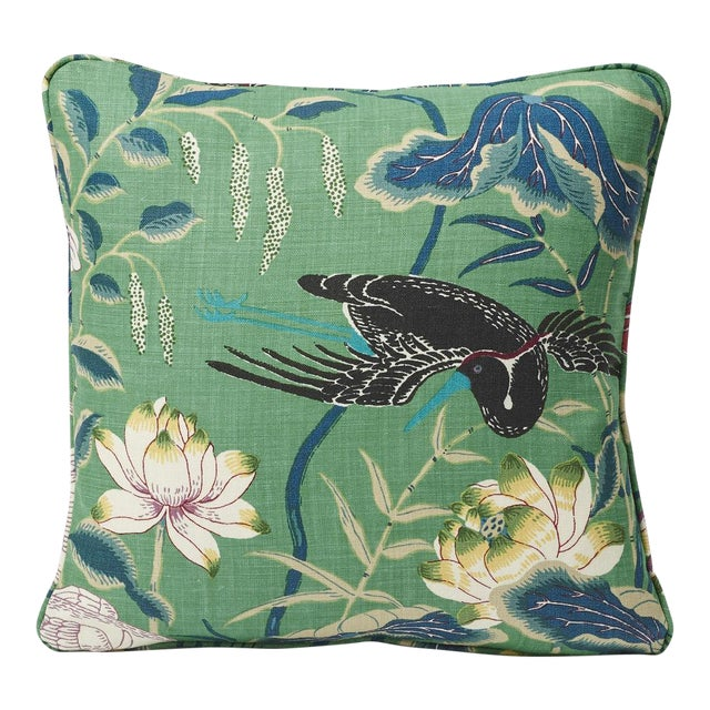 Schumacher Double-Sided Pillow in Lotus Garden Linen Print For Sale