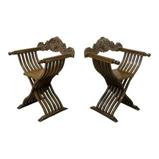 Pair of Antique Italian Savonarola Walnut Arm Chairs For Sale