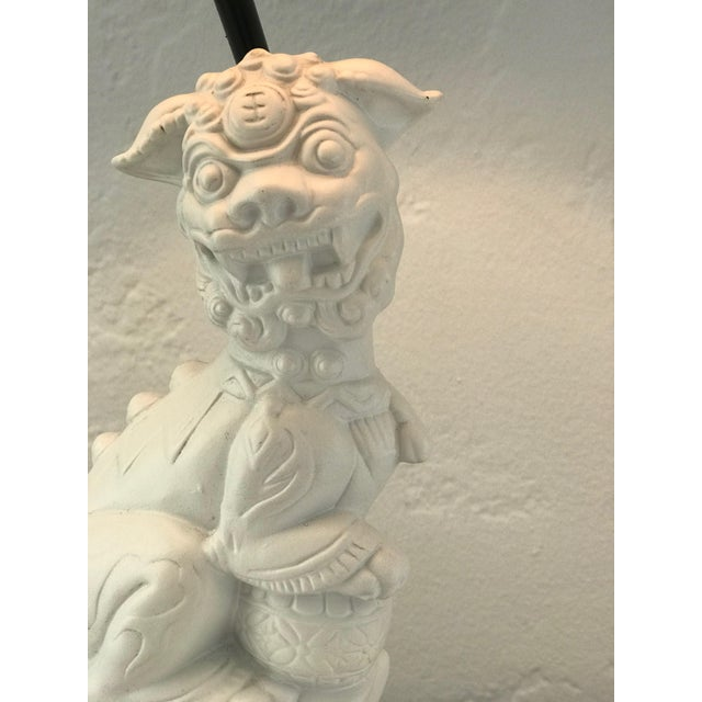 Metal Custom Made Foo Dog Lamps With Jade Finials and Black Shades - a Pair For Sale - Image 7 of 11