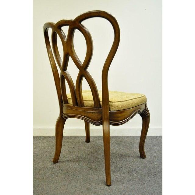 Vintage Hollywood Regency Solid Wood Loop Back Side Occasional Desk Dining Chair For Sale - Image 4 of 11
