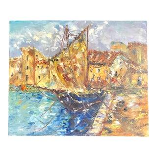 Mediterranean Harbor Oil Painting - Signed Original