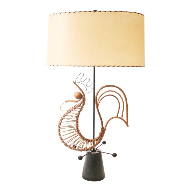 Frederick Weinberg Mid Century Modern Wicker Table Lamp For Sale