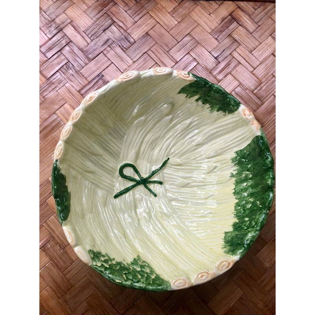Late 20th Century Shabby Chic Green Ceramic Asparagus Bowl For Sale - Image 5 of 10