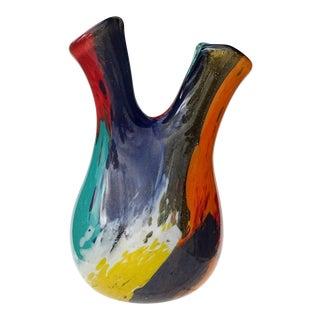 Murano Painterly Oriente Gold Flecks Italian Art Glass Mid Century Double Spout Flower Vase For Sale