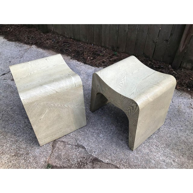 Curvilinear 1980s Stools — a Pair For Sale - Image 10 of 11