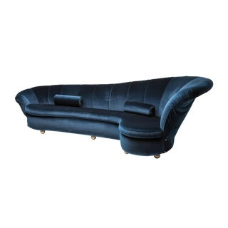 Marzio Cecchi One-Of-A-Kind Sofa in Blue Velvet For Sale