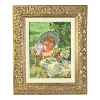 Oksana Gurtovaia Tea on the Patio Ukranian Impressionist Inspired Oil Painting For Sale