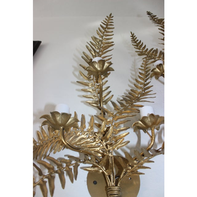 Gold Mid-Century Sconces Fern Motif - a Set of 2 For Sale - Image 8 of 13