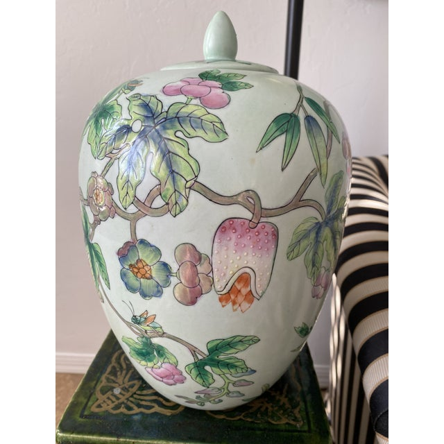 Ceramic Lided Chinoiserie Strawberry and Butterfly Ginger Jar For Sale - Image 7 of 13