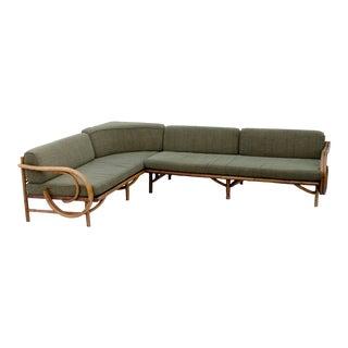 Mid-Century Rattan Sectional Sofa