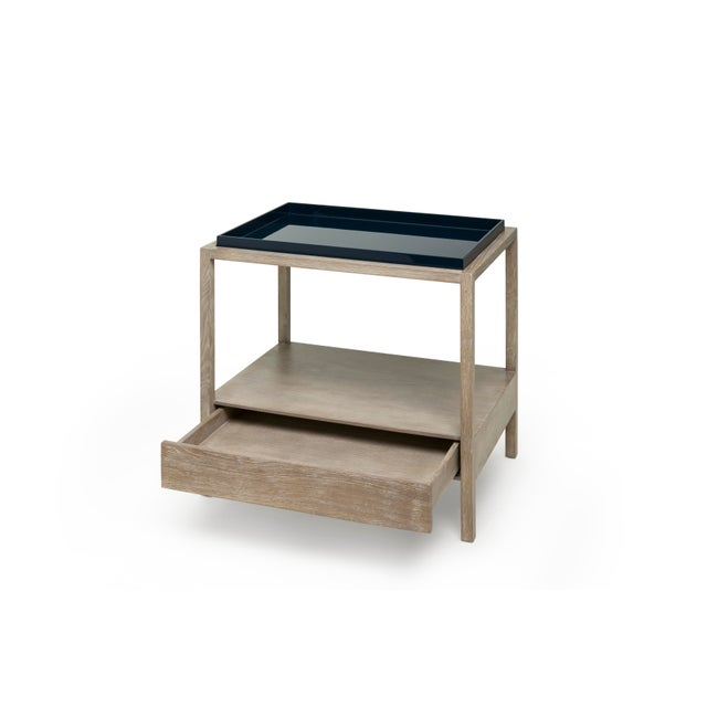 Contemporary Fitzgerald Nightstand in Midnight Blue / Cerused Oak - Rita Konig for The Lacquer Company For Sale - Image 3 of 5