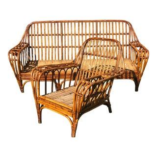 Restored Antique Art Deco Split Reed Rattan Stick Wicker Rattan Sofa & Chair - A Pair For Sale