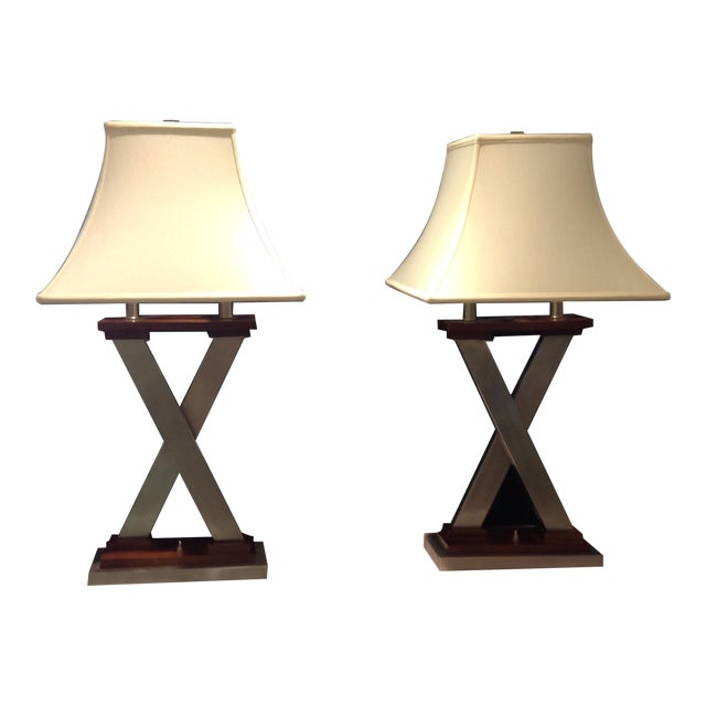 """Mid-Century Modern """"X"""" Table Lamps - a Pair For Sale"""