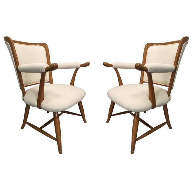 Tan Pair of 1950s French Country Armchairs For Sale - Image 8 of 8