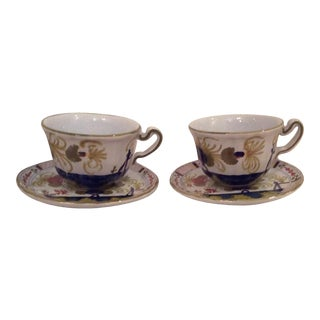 Faenza Italy Cups & Saucers - A Pair For Sale