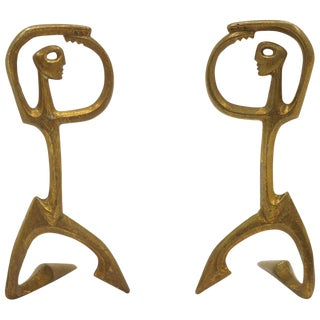 Pair of Bronze Figurative Table Sculptures by Frederic Weinberg, Each Is Signed For Sale