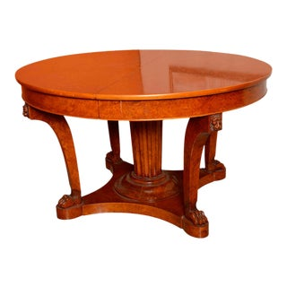 French Empire Revival Burled Walnut and Walnut Extension Dining Table For Sale