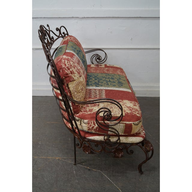 Rococo Ornate Wrought Iron Rococo Style Settee With Cushions For Sale - Image 3 of 10