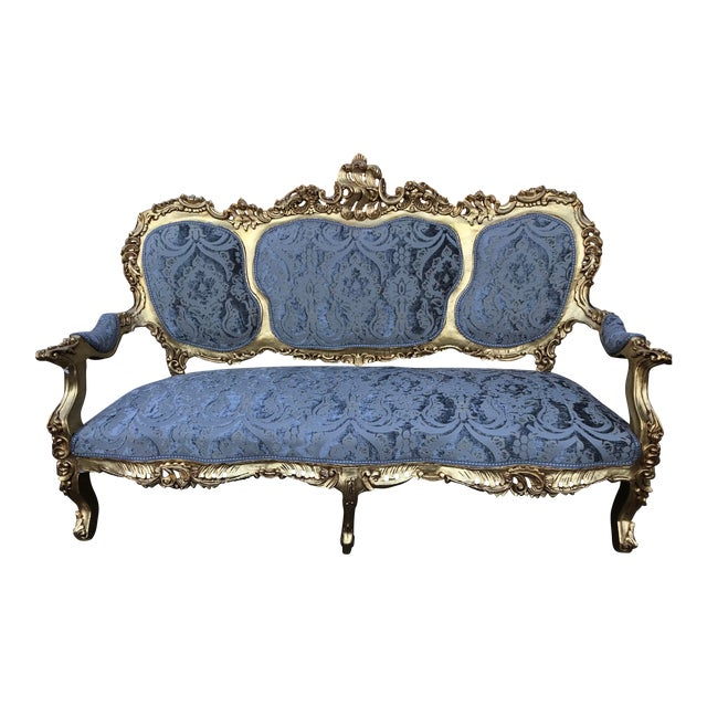 Italian Rococo Baroque Blue Silk Upholstered Gold Frame Sofa For Sale