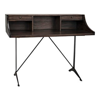 Croft Desk with Metal, Ebony Walnut For Sale