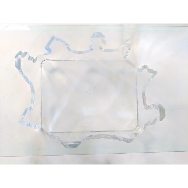 Transparent Lion in Frost Style Lucite Iceberg Coffee 2-Piece Table Base For Sale - Image 8 of 13