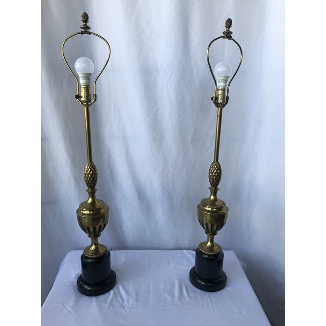 Pepe Mendoza 1950s Brass With Center Pineapple Lamps - a Pair For Sale - Image 4 of 6