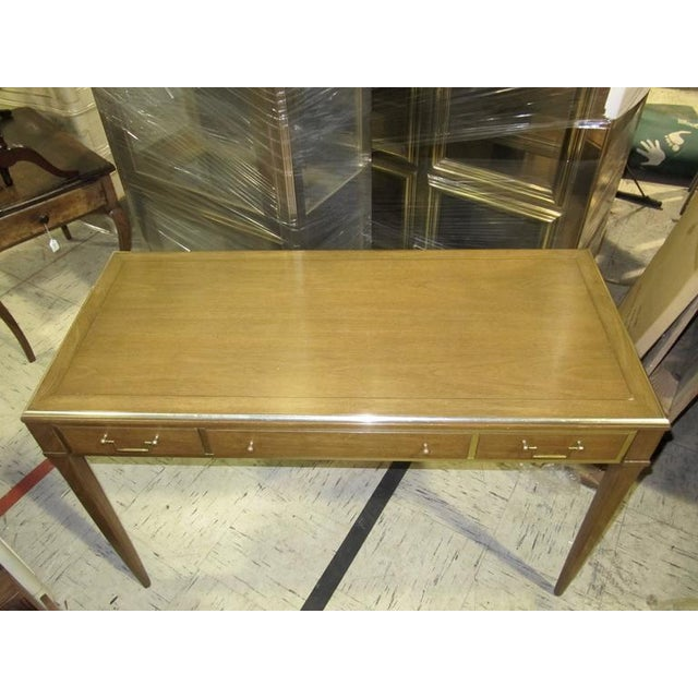 Very Chic Mid-century Mahogany & Brass Inlaid Writing Table - Image 2 of 10
