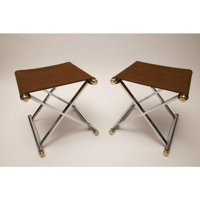 Pair of Hollywood-Regency X-Base Stools, Polished Chrome, Brass and Faux Suede - Image 3 of 11