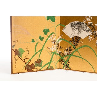 "Lawrence & Scott Japanese ""Ivy & Fans"" Two-Panel Silk Gold Foil Hanging Screen Preview"