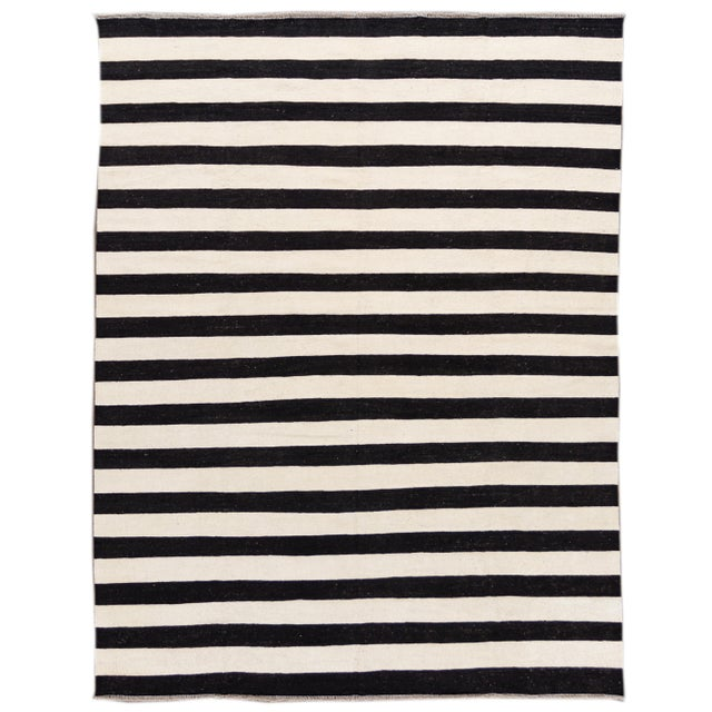 Contemporary Black and White Striped Kilim Flat-Weave Wool Rug For Sale - Image 11 of 11