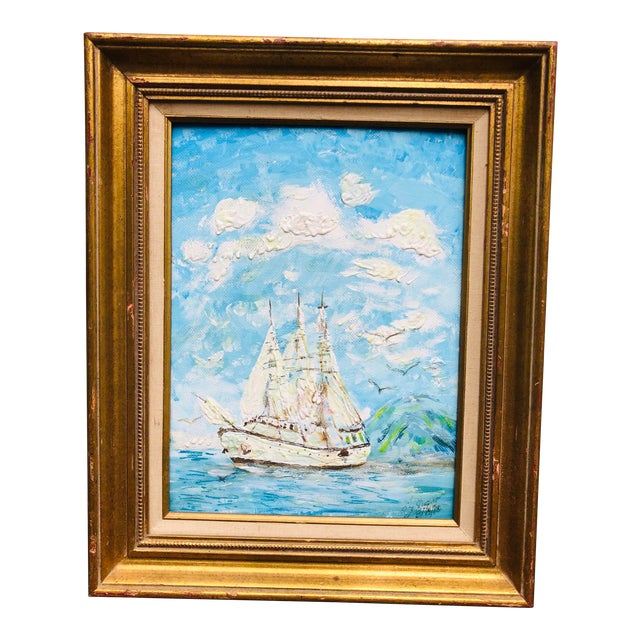 Vintage Sailboat Ocean 3d Art Painting Signed in Antique Gold Frame For Sale