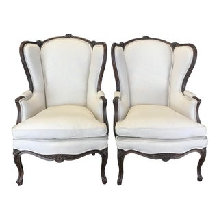 Carved 19th Century French Louis XV Wing Armchairs -A Pair For Sale